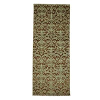 Damask Wool and Silk Tone On Tone Handmade Runner Rug (2'6 x 6'3)