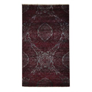 Damask Wool and Silk Tone On Tone Hand-knotted Runner Rug (3'2 x 5'7)