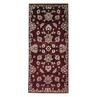 Tone On Tone Modern Agra Burgundy Hand-knotted Runner Rug (2'8 x 6')