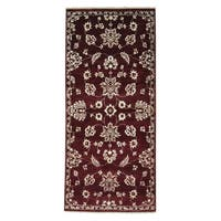 Tone On Tone Modern Agra Burgundy Hand-knotted Runner Rug (2'8 x 6')