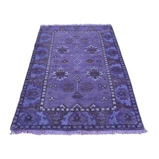 Purple Cast Overdyed Pure Wool Oushak Handmade Oriental Rug (3' x 5'2)