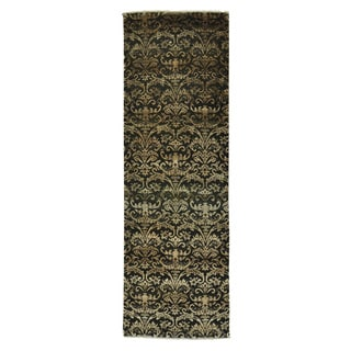 Wool and Silk Damask Black Tone On Tone Handmade Runner Rug (2'6 x 7'9)