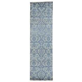Damask Tone On Tone Wool and Silk Handmade Runner Rug (3' x 10')