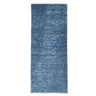 Wool and Silk Damask Tone On Tone Handmade Runner Rug (2'9 x 6'9)