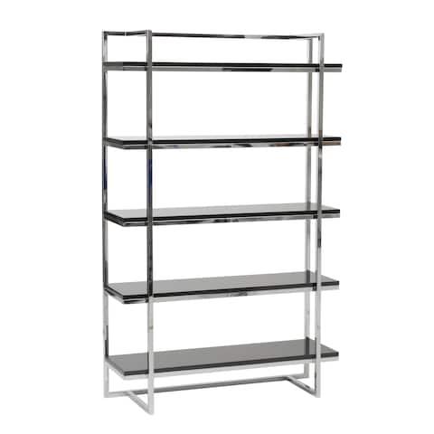Gilbert 5-Shelf Unit - Black Lacquer/Chrome