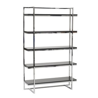 Gilbert 5-Shelf Unit - Black Lacquer/Chrome