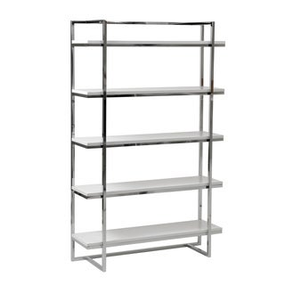 Gilbert 5-Shelf Unit - White Lacquer/Chrome