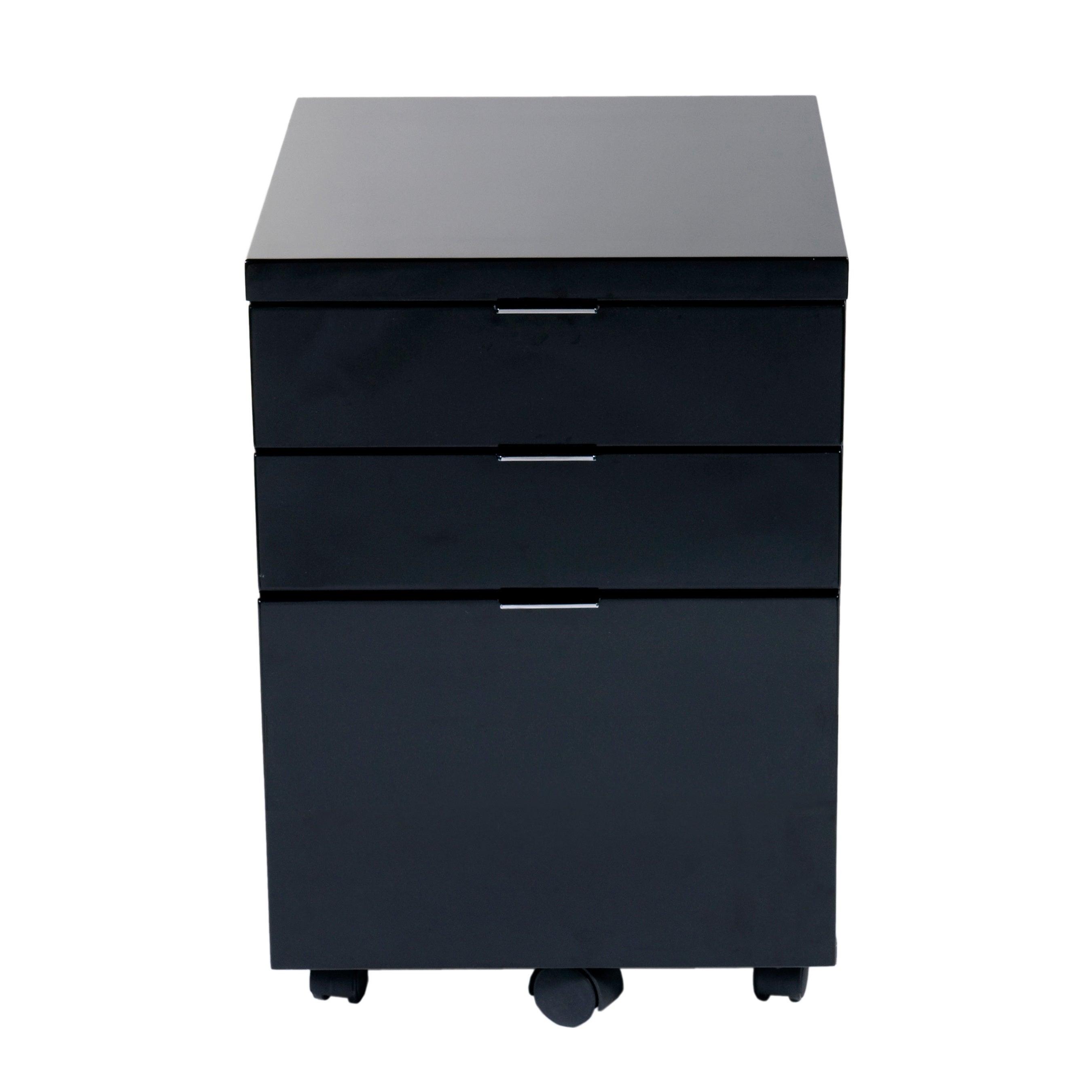 Euro Style Gilbert File Cabinet - Black Lacquer (Black La...