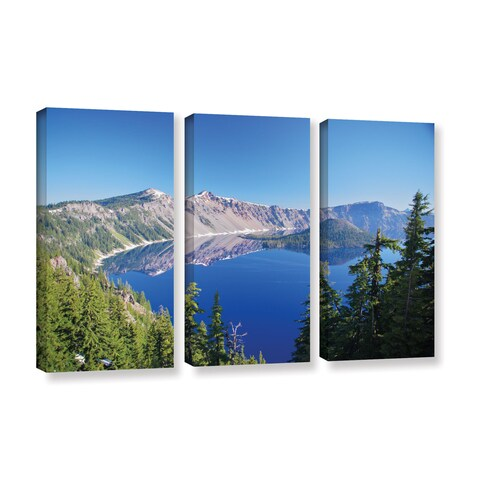 ArtWall 'Dan Wilson's Crater Lake' 3-piece Gallery Wrapped Canvas Set
