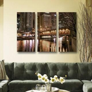 ArtWall 'Dan Wilson's Chicago-Michigan Abenue Bridge' 3-piece Gallery Wrapped Canvas Set