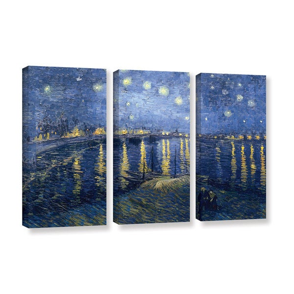 ArtWall 'Vincent VanGogh's Starry Night Over the Rhone (lighter version)' 3-piece Gallery Wrapped Canvas Set