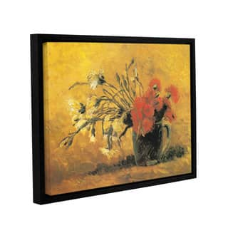 ArtWall 'Vincent van Gogh's Vase with Red and White Carnation on a Yellow Background' Gallery Wrapped Floater-framed Canvas