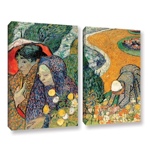 ArtWall 'Vincent van Gogh's Memory of the Garden at Etten (Ladies of Arles)' 2-piece Gallery Wrapped Canvas Set