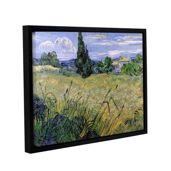 ArtWall 'Vincent VanGogh's Green Wheat Field with Cypress' Gallery Wrapped Floater-framed Canvas