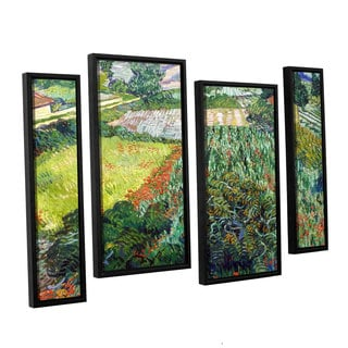 ArtWall 'Vincent VanGogh's Field with Poppies' 4-piece Floater Framed Canvas Staggered Set