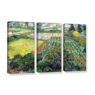 ArtWall 'Vincent VanGogh's Field with Poppies' 3-piece Gallery Wrapped Canvas Set