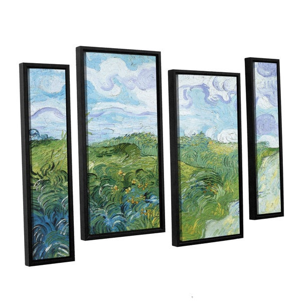 ArtWall 'Vincent VanGogh's Field with Green Wheat' 4-piece Floater Framed Canvas Staggered Set