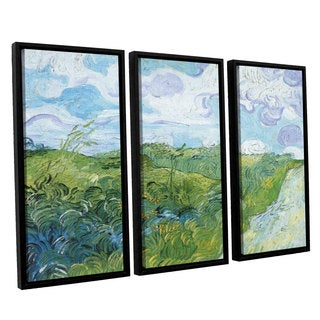 ArtWall 'Vincent VanGogh's Field with Green Wheat' 3-piece Floater Framed Canvas Set