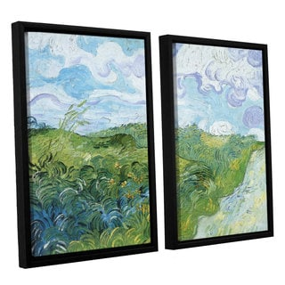 ArtWall 'Vincent VanGogh's Field with Green Wheat' 2-piece Floater Framed Canvas Set