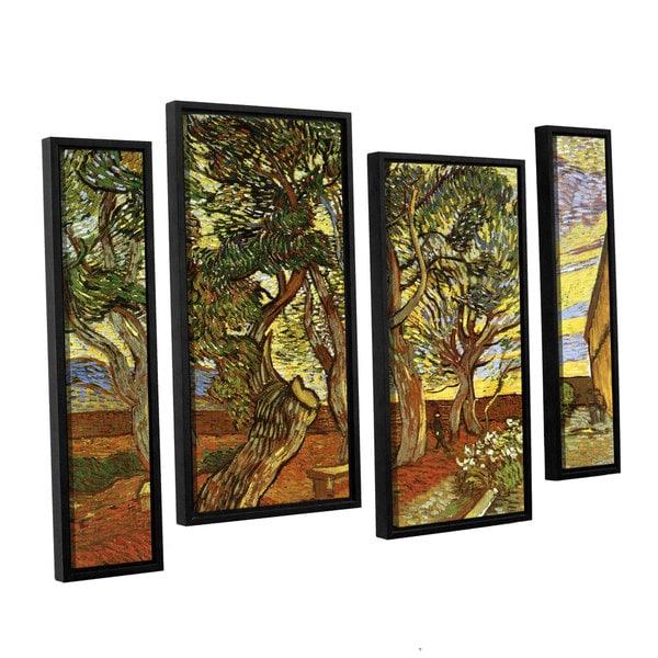 ArtWall 'Vincent VanGogh's A Corner of Saint-Paul Hospital' 4-piece Floater Framed Canvas Staggered Set