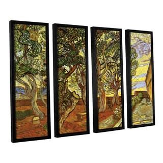 ArtWall 'Vincent VanGogh's A Corner of Saint-Paul Hospital' 4-piece Floater Framed Canvas Set