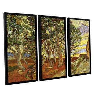 ArtWall 'Vincent VanGogh's A Corner of Saint-Paul Hospital' 3-piece Floater Framed Canvas Set