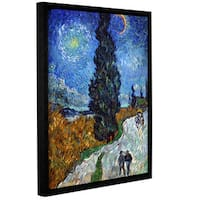 ArtWall 'Vincent VanGogh's Country Road in Provence' Gallery Wrapped Floater-framed Canvas