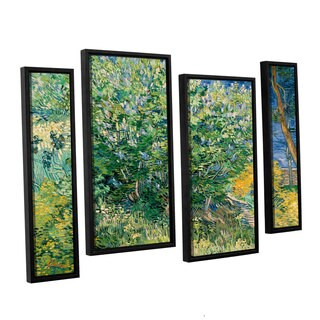 ArtWall 'Vincent VanGogh's Lilacs' 4-piece Floater Framed Canvas Staggered Set