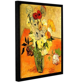 ArtWall 'Vincent VanGogh's Japanese Vase with Roses and Anemones' Gallery Wrapped Floater-framed Canvas