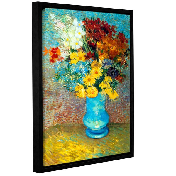 ArtWall 'Vincent VanGogh's Flowers in Blue Vase' Gallery Wrapped Floater-framed Canvas