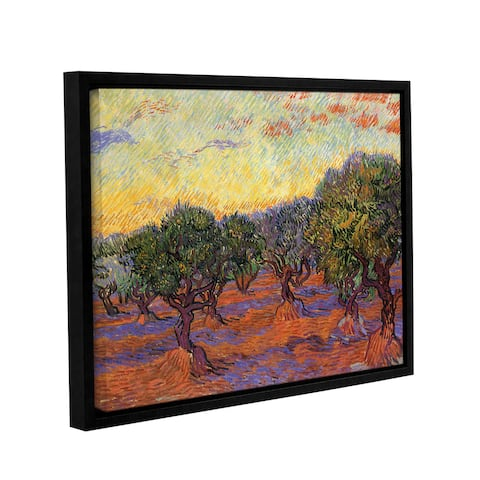 ArtWall 'Vincent van Gogh's Olive Grove with Orange Sky' Gallery Wrapped Floater-framed Canvas