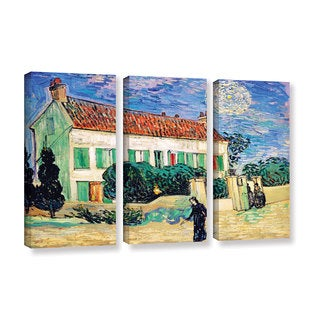 ArtWall 'Vincent VanGogh's The White House at Night' 3-piece Gallery Wrapped Canvas Set