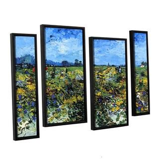 ArtWall 'Vincent VanGogh's Green Vineyard' 4-piece Floater Framed Canvas Staggered Set