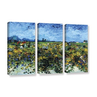 ArtWall 'Vincent VanGogh's Green Vineyard' 3-piece Gallery Wrapped Canvas Set