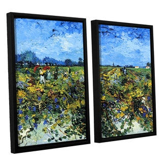 ArtWall 'Vincent VanGogh's Green Vineyard' 2-piece Floater Framed Canvas Set