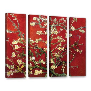 ArtWall 'Vincent VanGogh's Red Blossoming Almond Tree' 4-piece Gallery Wrapped Canvas Set