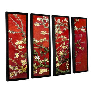 ArtWall 'Vincent VanGogh's Red Blossoming Almond Tree' 4-piece Floater Framed Canvas Set