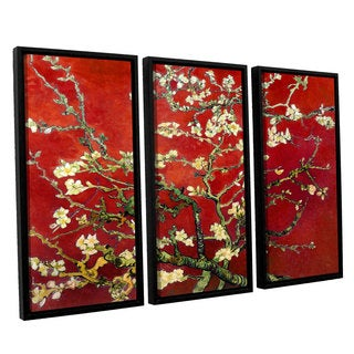 ArtWall 'Vincent VanGogh's Red Blossoming Almond Tree' 3-piece Floater Framed Canvas Set - multi