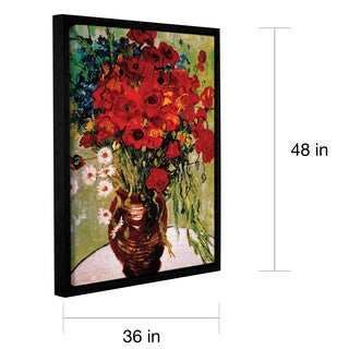 ArtWall 'Vincent VanGogh's Dasies and Poppies' Gallery Wrapped Floater-framed Canvas - Red