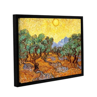 ArtWall 'Vincent VanGogh's Olive Trees with Yellow Skies and Sun' Gallery Wrapped Floater-framed Canvas