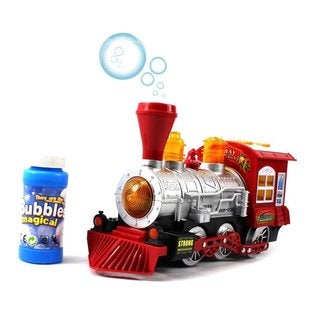Steam Train Locomotive Engine Car Bubble Blowing Bump and Go Battery Operated Toy Train with Lights and Sounds