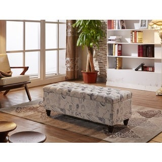 Luxury Script Pattern Tufted Storage Bench with Twin Hydraulic Hinges