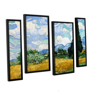 ArtWall 'Vincent VanGogh's Wheatfield with Cypresses' 4-piece Floater Framed Canvas Staggered Set