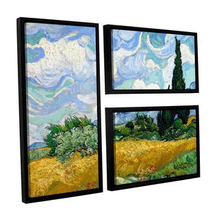 ArtWall 'Vincent VanGogh's Wheatfield with Cypresses' 3-piece Floater Framed Canvas Flag Set