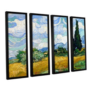 ArtWall 'Vincent VanGogh's Wheatfield with Cypresses' 4-piece Floater Framed Canvas Set