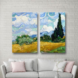 ArtWall 'Vincent VanGogh's Wheatfield with Cypresses' 3-piece Gallery Wrapped Canvas Set