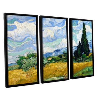 ArtWall 'Vincent VanGogh's Wheatfield with Cypresses' 3-piece Floater Framed Canvas Set