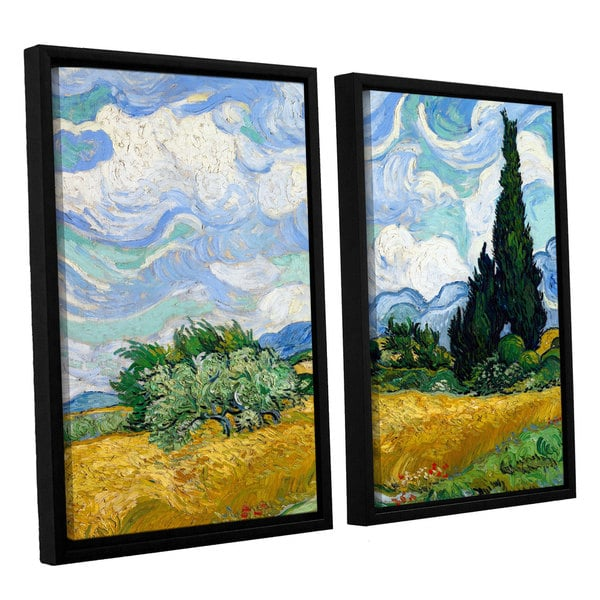 ArtWall 'Vincent VanGogh's Wheatfield with Cypresses' 2-piece Floater Framed Canvas Set - Multi