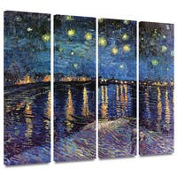 ArtWall 'Vincent VanGogh's Starry Night Over the Rhone' 4-piece Gallery Wrapped Canvas Set - BLUE