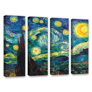 ArtWall 'Vincent VanGogh's Starry Night' 4-piece Gallery Wrapped Canvas Set